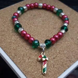 Handmade Candy Cane Christmas bracelet